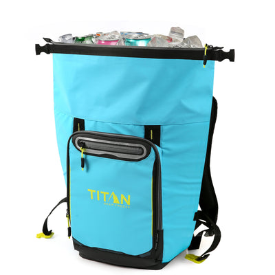 Titan Deep Freeze® 20 Can Rolltop Backpack - Blue Lagoon - Unrolled, propped