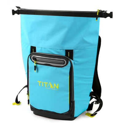 Titan Deep Freeze® 20 Can Rolltop Backpack - Blue Lagoon - Unrolled, empty