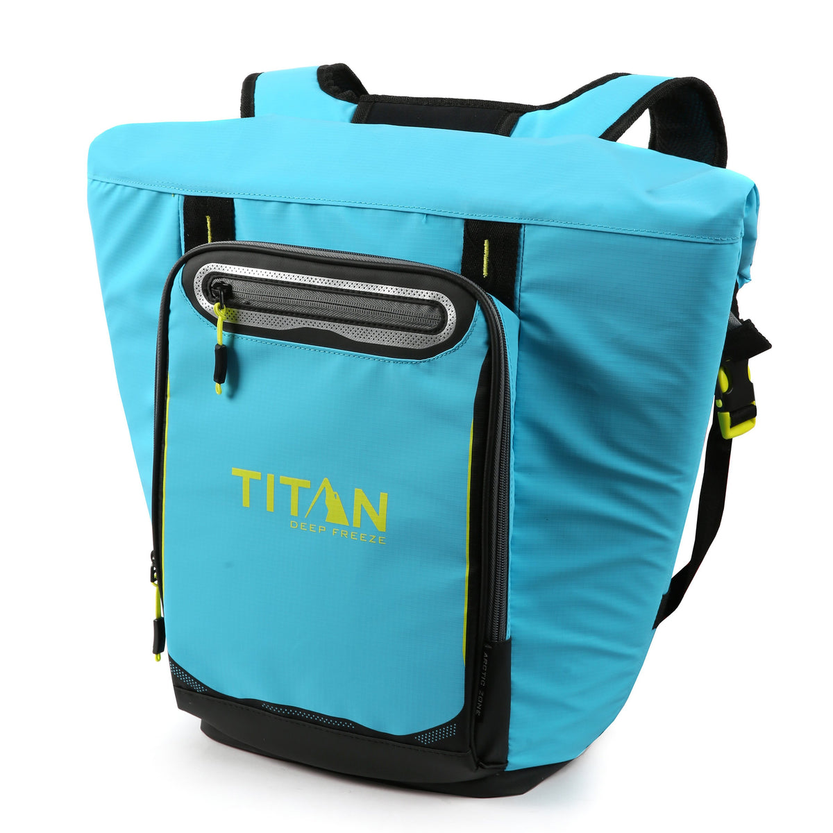 Titan Deep Freeze® 20 Can Rolltop Backpack - Blue Lagoon - Front, closed