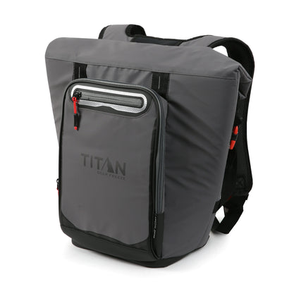 Titan Deep Freeze® 20 Can Rolltop Backpack - Sharkskin Gray - Front, closed