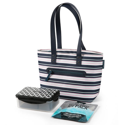 Arctic Zone® Bennet Tote - Mixed Stripes - Bag with ice pack and containers