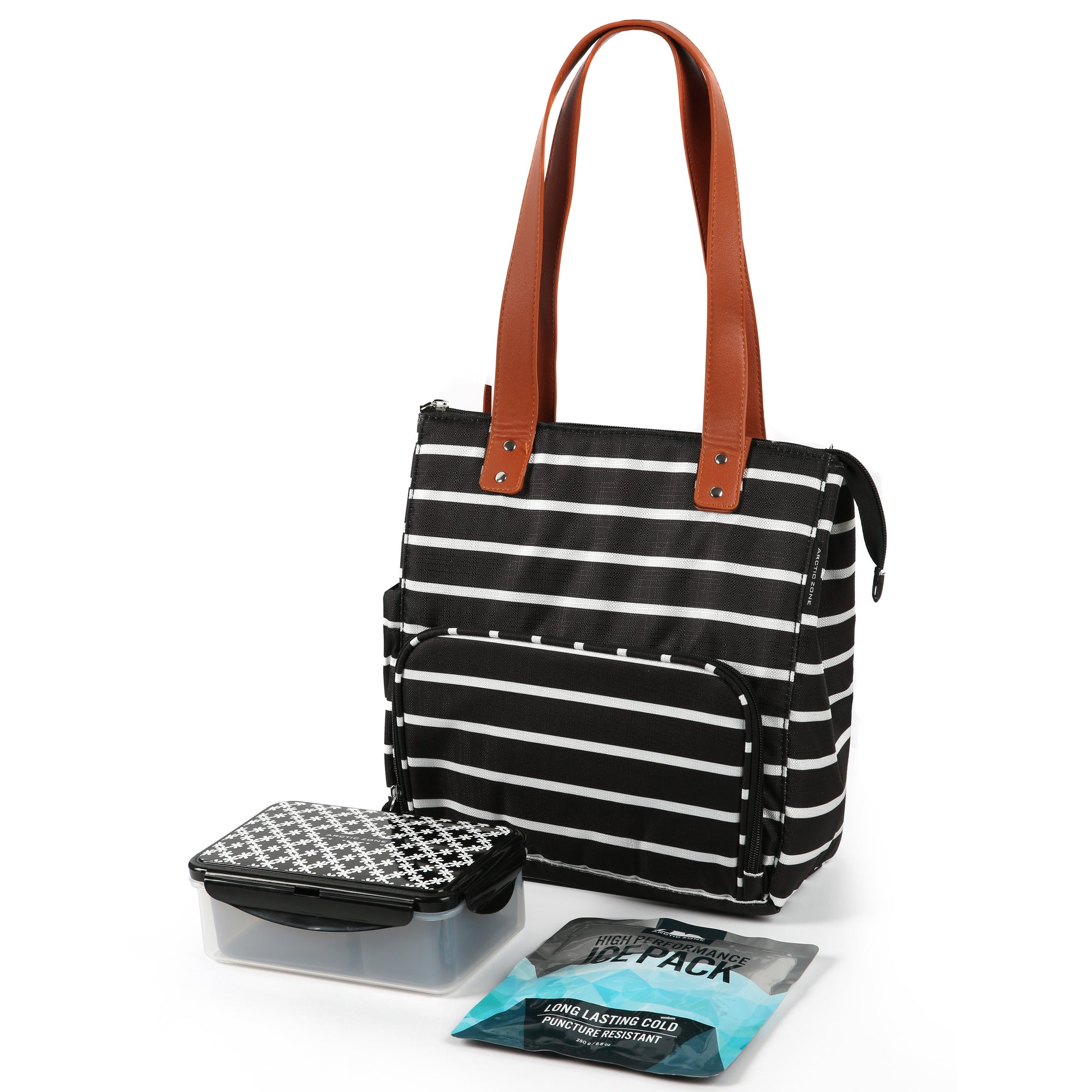 Arctic Zone® Abigail Tote - Basic Stripes - Bag with ice pack and containers