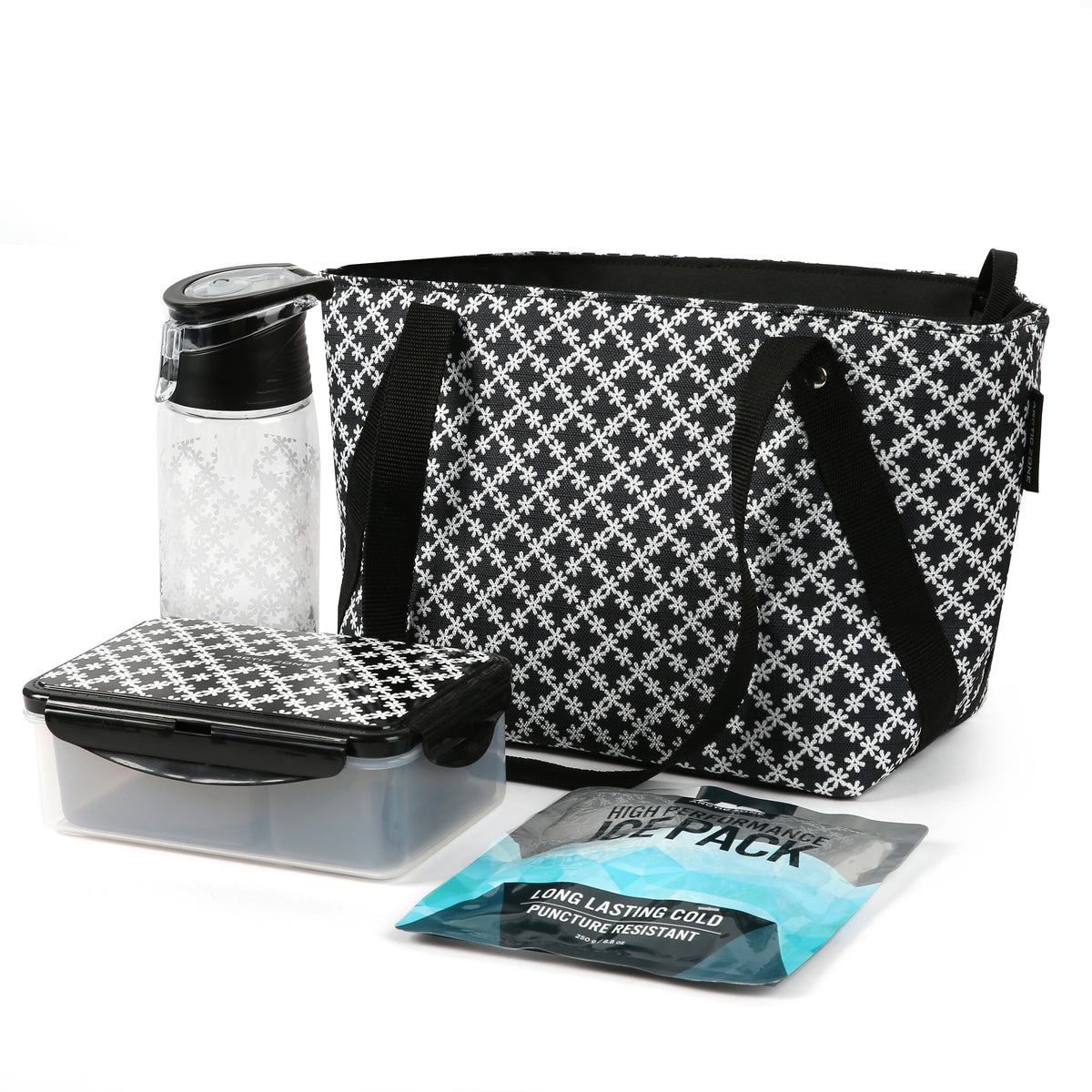 Arctic Zone® Commuter Tote - Delicate Daisies - Bag with ice pack water bottle and containers