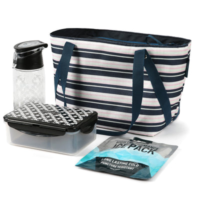 Arctic Zone® Commuter Tote - Mixed Stripes - Bag with ice pack water bottle and containers