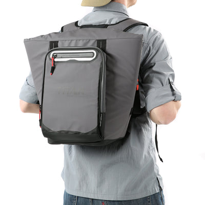 Titan Deep Freeze® 20 Can Rolltop Backpack - Sharkskin Gray - Model wearing cooler