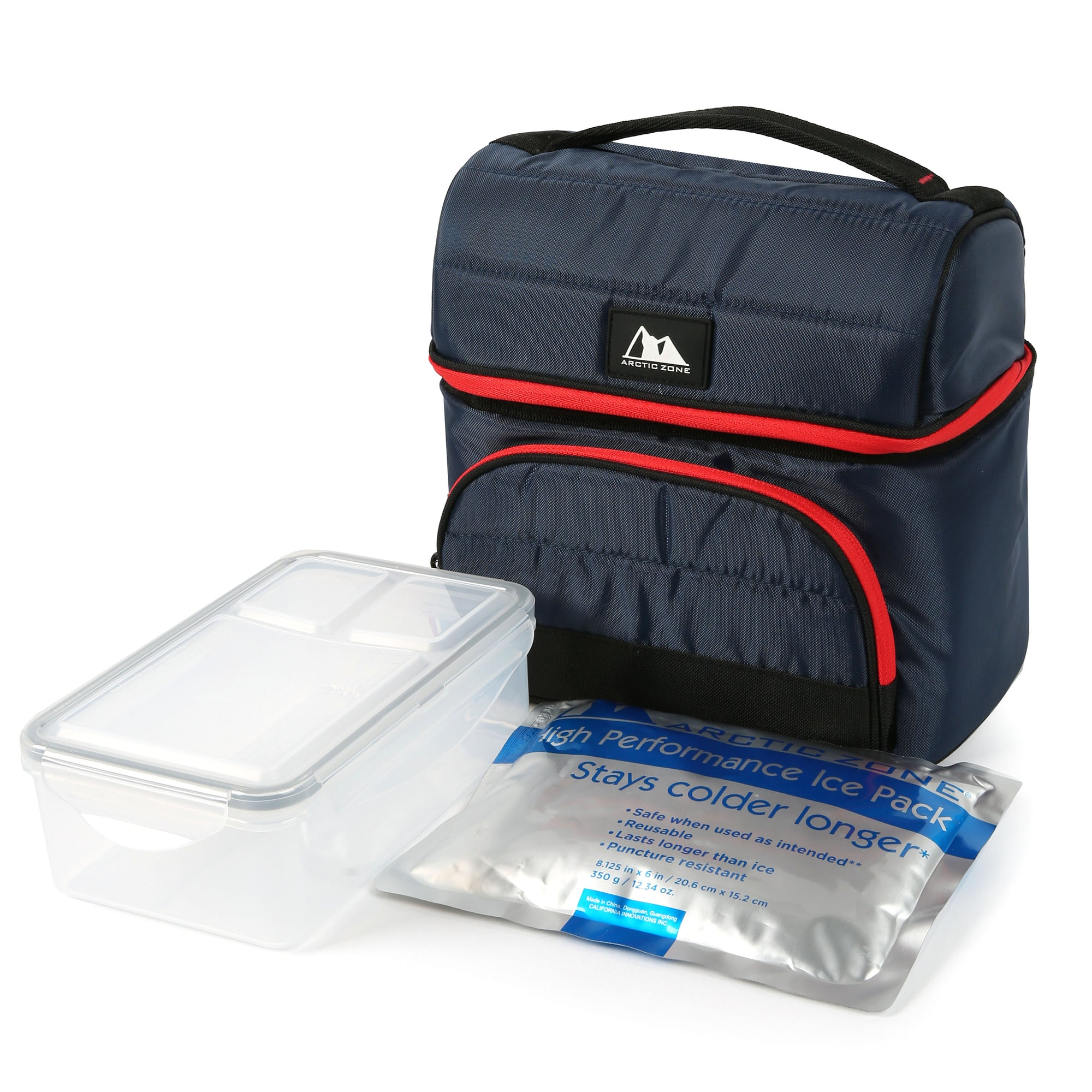 Arctic Zone® High Performance Ultimate Secret Lunch Bucket - Navy - Bag with ice pack and container