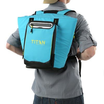 Titan Deep Freeze® 20 Can Rolltop Backpack - Blue Lagoon - Model wearing backpack cooler