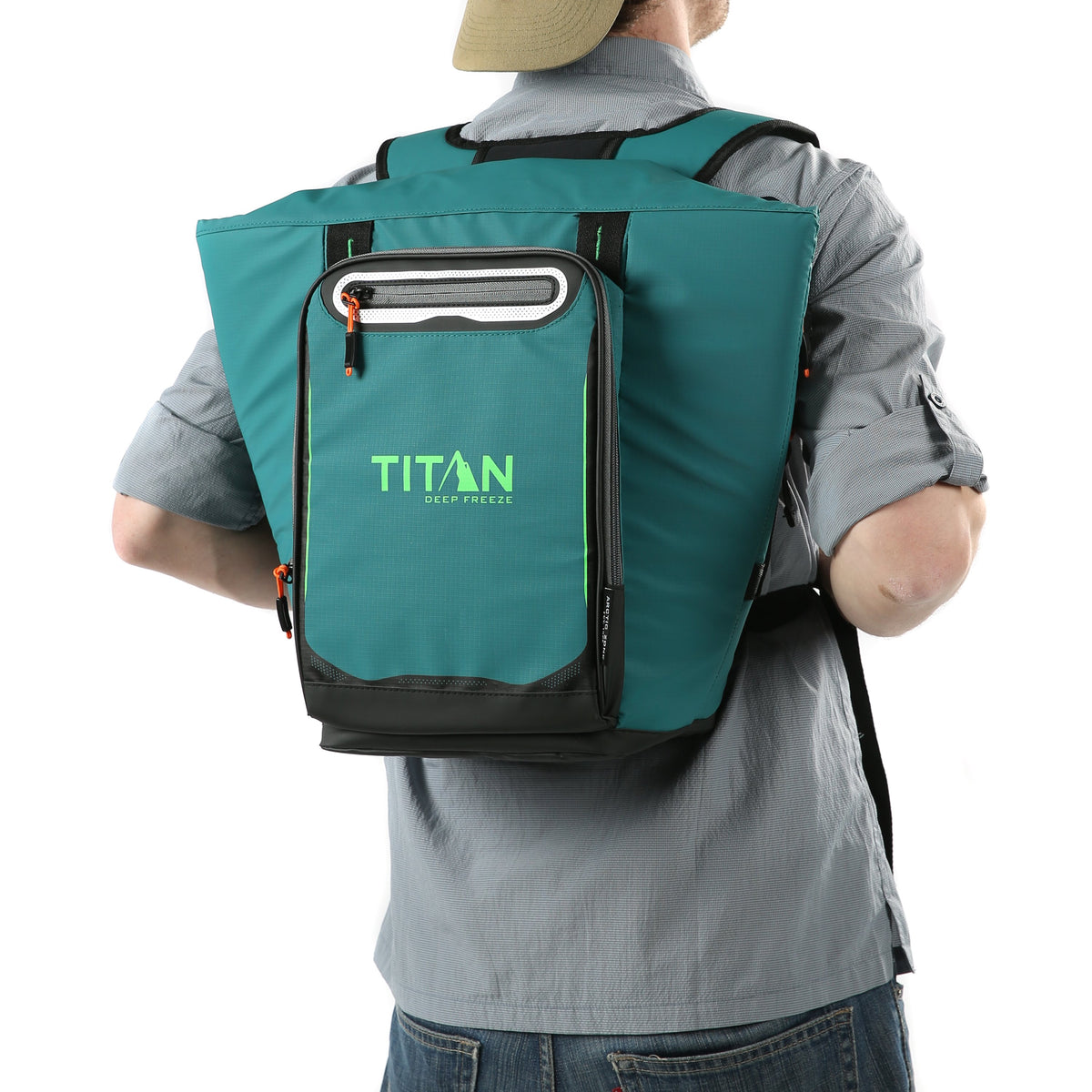 Titan Deep Freeze® 20 Can Rolltop Backpack - Pine - Model wearing backpack cooler