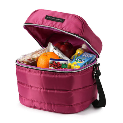 Arctic Zone® Crossbody Quilted Lunch Pack - Red Violet - Open, propped