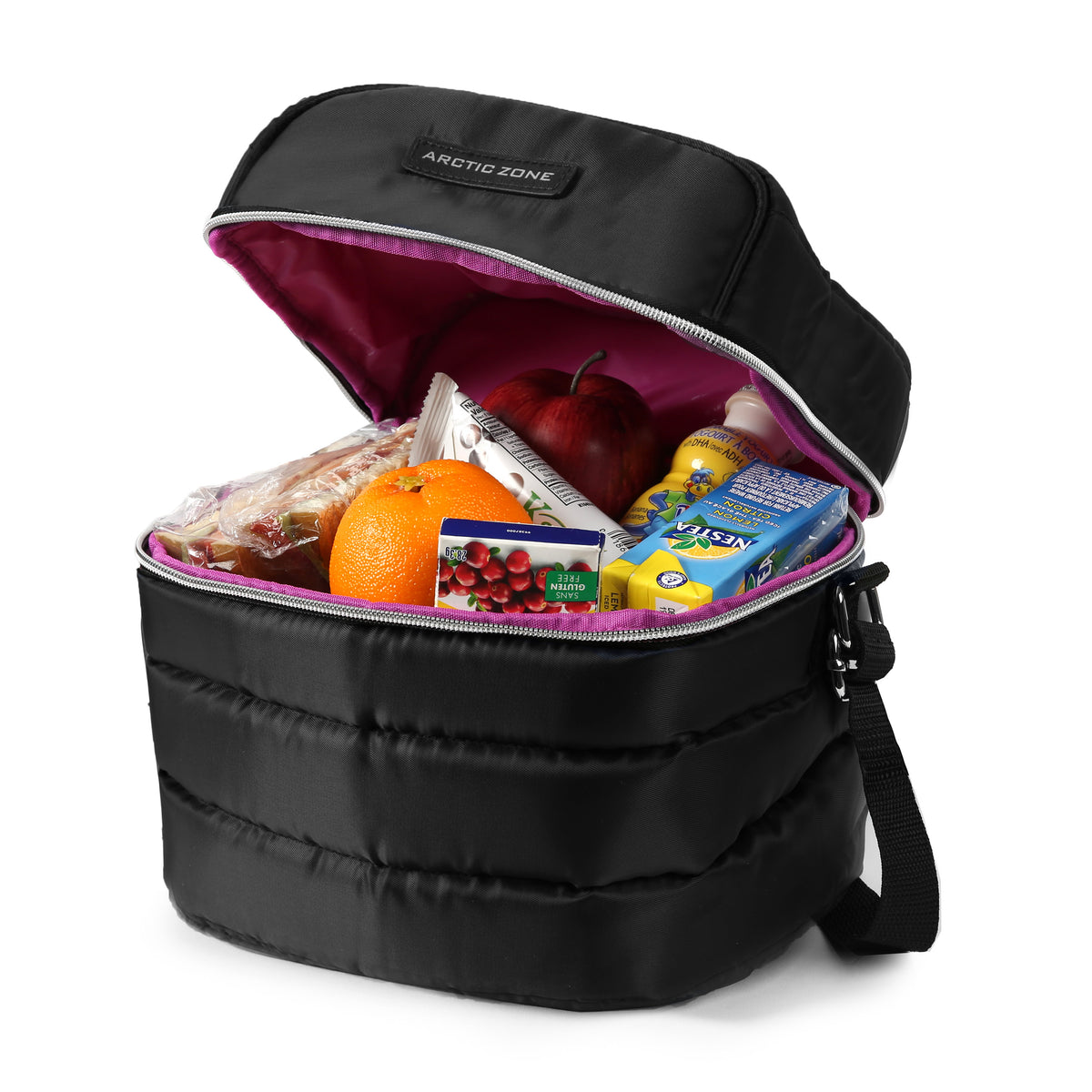 Arctic Zone® Crossbody Quilted Lunch Pack - Black - Open, propped