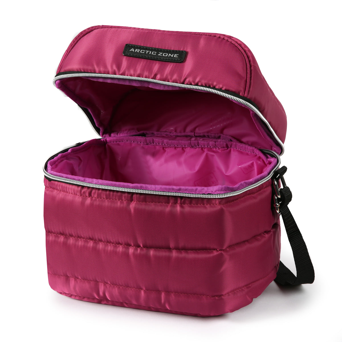 Arctic Zone® Crossbody Quilted Lunch Pack - Red Violet - Open, empty