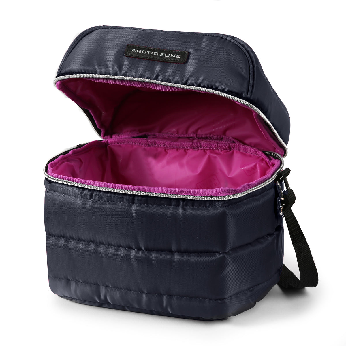 Arctic Zone® Crossbody Quilted Lunch Pack - Majolica Blue - Open, empty