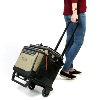 Titan Deep Freeze® 60 (50+10) Can Rolling Cooler - Moss - Model carrying