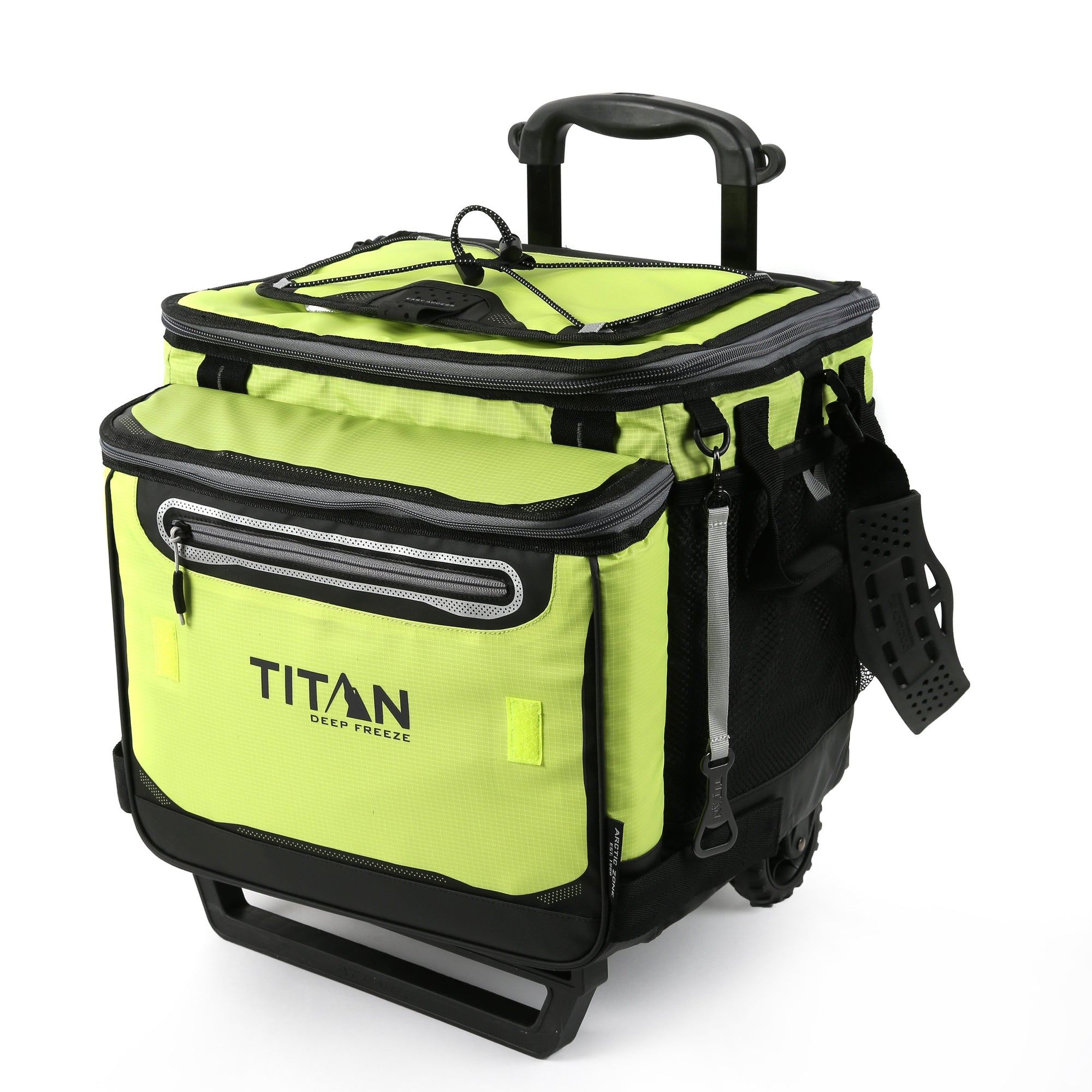Titan Deep Freeze® 60 (50+10) Can Rolling Cooler - Citrus - Front, closed