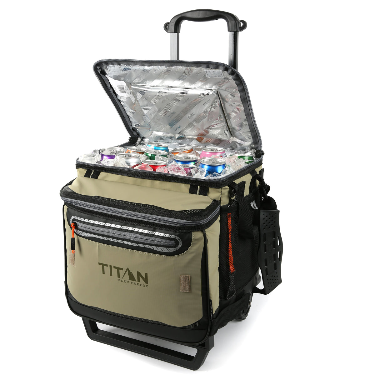 Titan Deep Freeze® 60 (50+10) Can Rolling Cooler - Moss - Open, propped