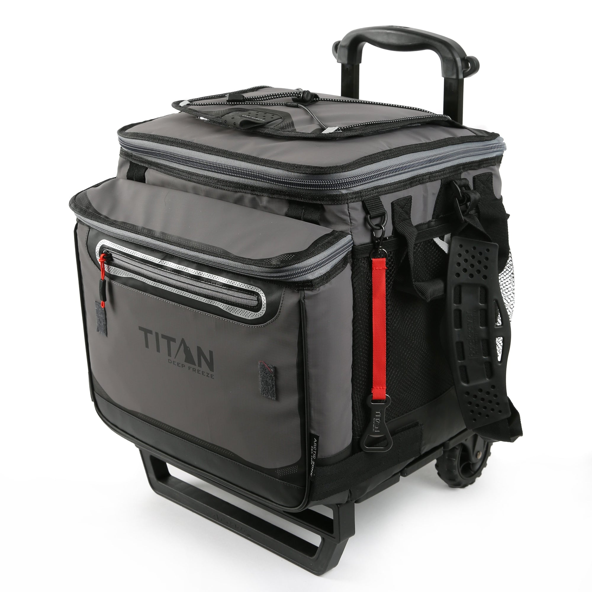 Titan Deep Freeze® 60 (50+10) Can Rolling Cooler - Sharkskin Gray - Front, closed