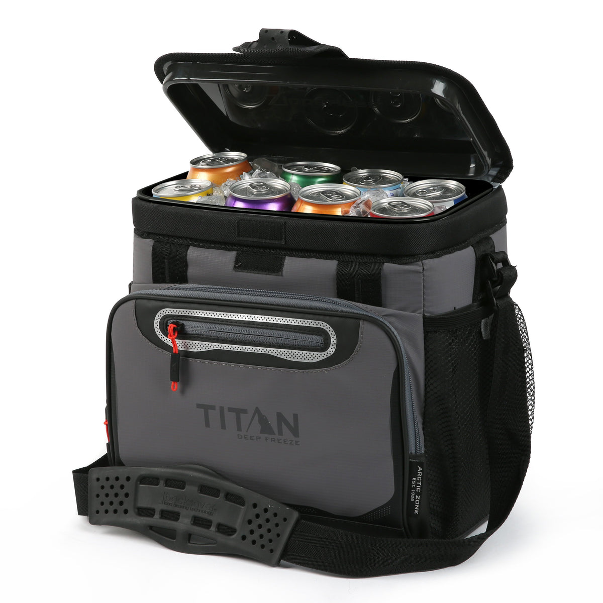 Titan Deep Freeze® 16 Can Zipperless™ HardBody® Cooler - Sharkskin Gray - Open, propped