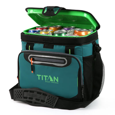 Titan Deep Freeze® 16 Can Zipperless™ HardBody® Cooler - Pine - Open, propped
