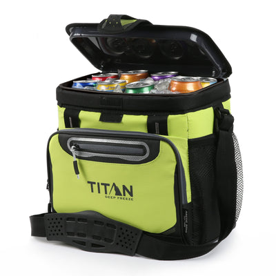 Titan Deep Freeze® 16 Can Zipperless™ HardBody® Cooler - Citrus - Open, propped