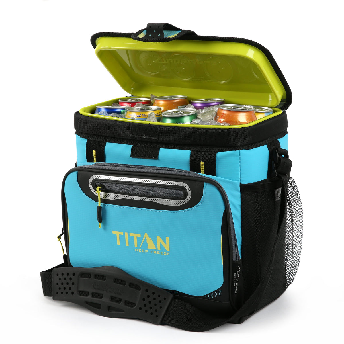 Titan Deep Freeze® 16 Can Zipperless™ HardBody® Cooler - Blue Lagoon - Open, propped