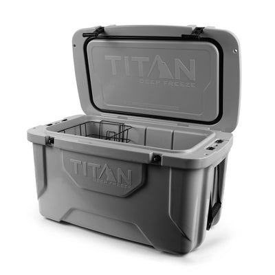 Titan Deep Freeze® 55Q Premium Ice Chest - Gray - Open, empty