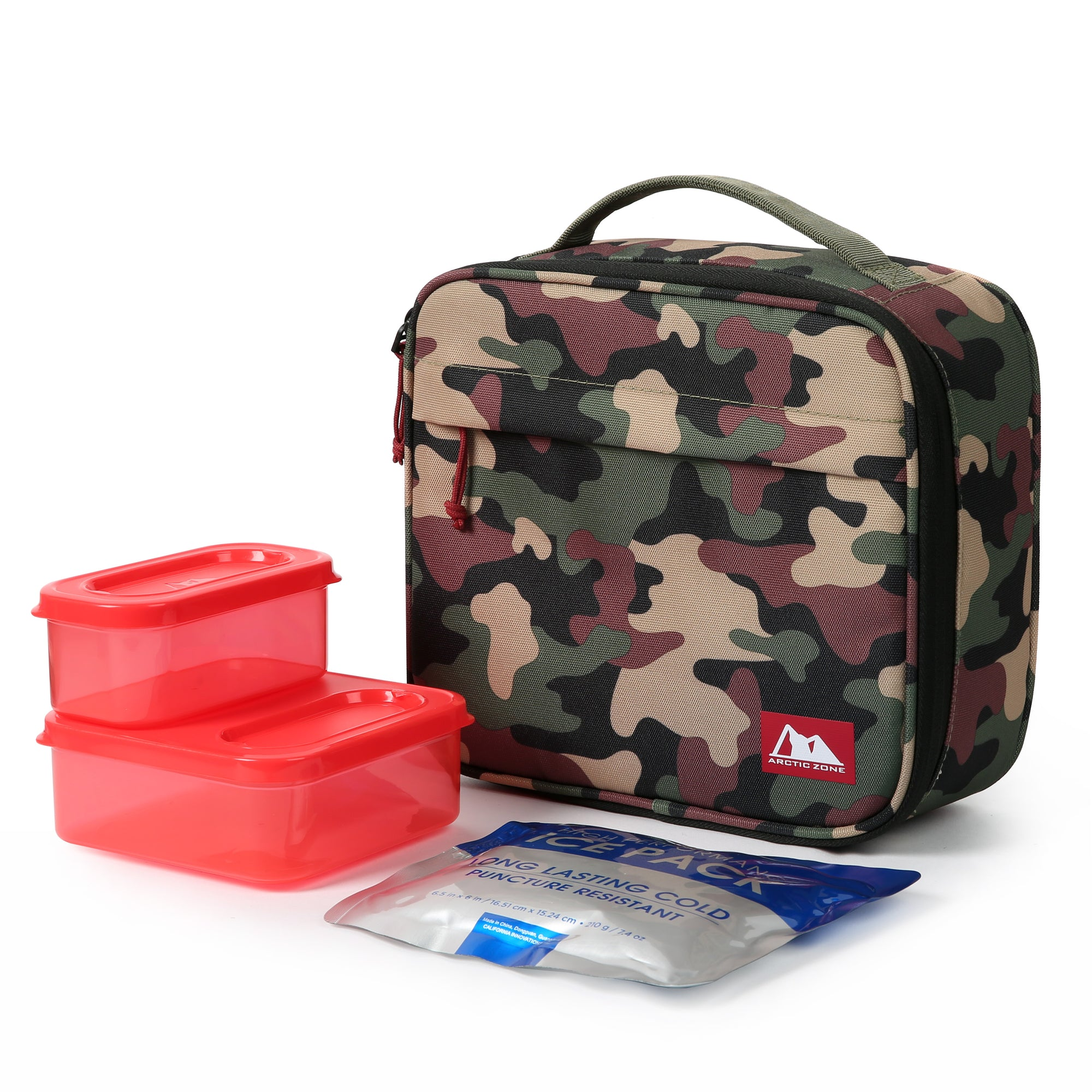 Kids Classics Lunch Box with 210gm Ice pack & 4 Piece Container Set - Camo