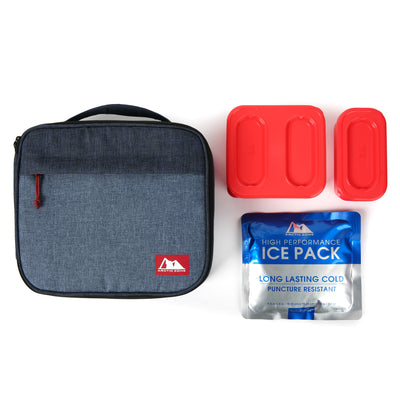Arctic Zone® Classics Lunch Box with 210gm Ice pack & 4 Piece Container Set - Blue - All laid out
