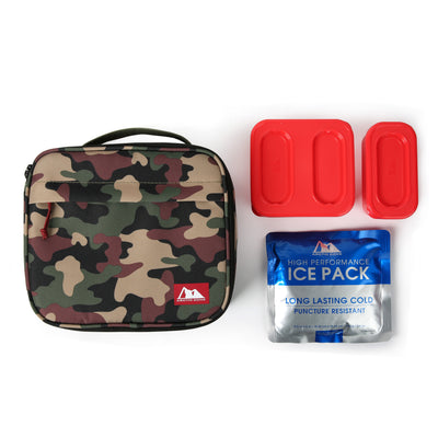 Arctic Zone® Classics Lunch Box with 210gm Ice pack & 4 Piece Container Set - Camo - All laid out