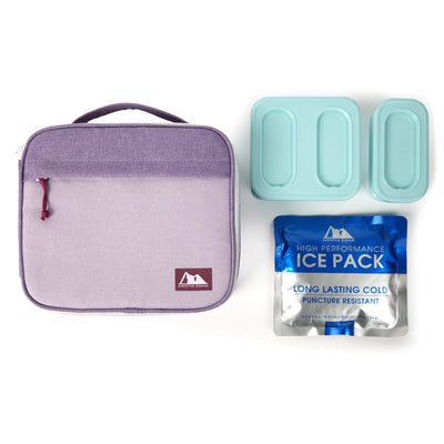 Arctic Zone® Classics Lunch Box with 210gm Ice pack & 4 Piece Container Set - Purple - All laid out