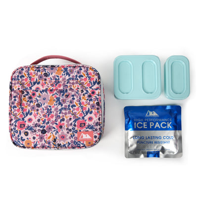 Arctic Zone® Classics Lunch Box with 210gm Ice pack & 4 Piece Container Set - Floral - All laid out