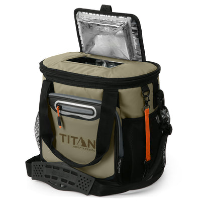 Titan Deep Freeze® 24 Can Bucket Tote - Tan - Easy access lid