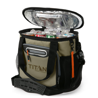 Titan Deep Freeze® 24 Can Bucket Tote - Tan - Open, propped