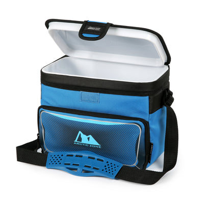 Arctic Zone® 12 Can Zipperless™ HardBody® Cooler - Blue - Open, empty