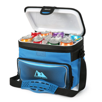 Arctic Zone® 12 Can Zipperless™ HardBody® Cooler - Blue - open, propped