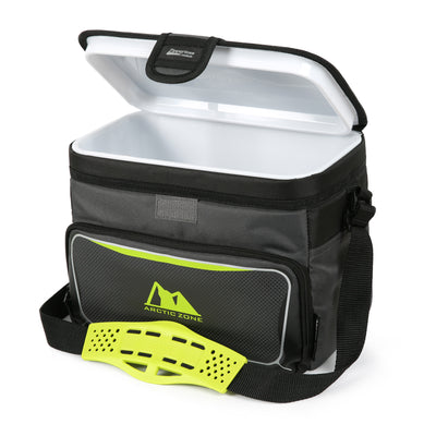 Arctic Zone® 12 Can Zipperless™ HardBody® Cooler - grey/green - Open, empty