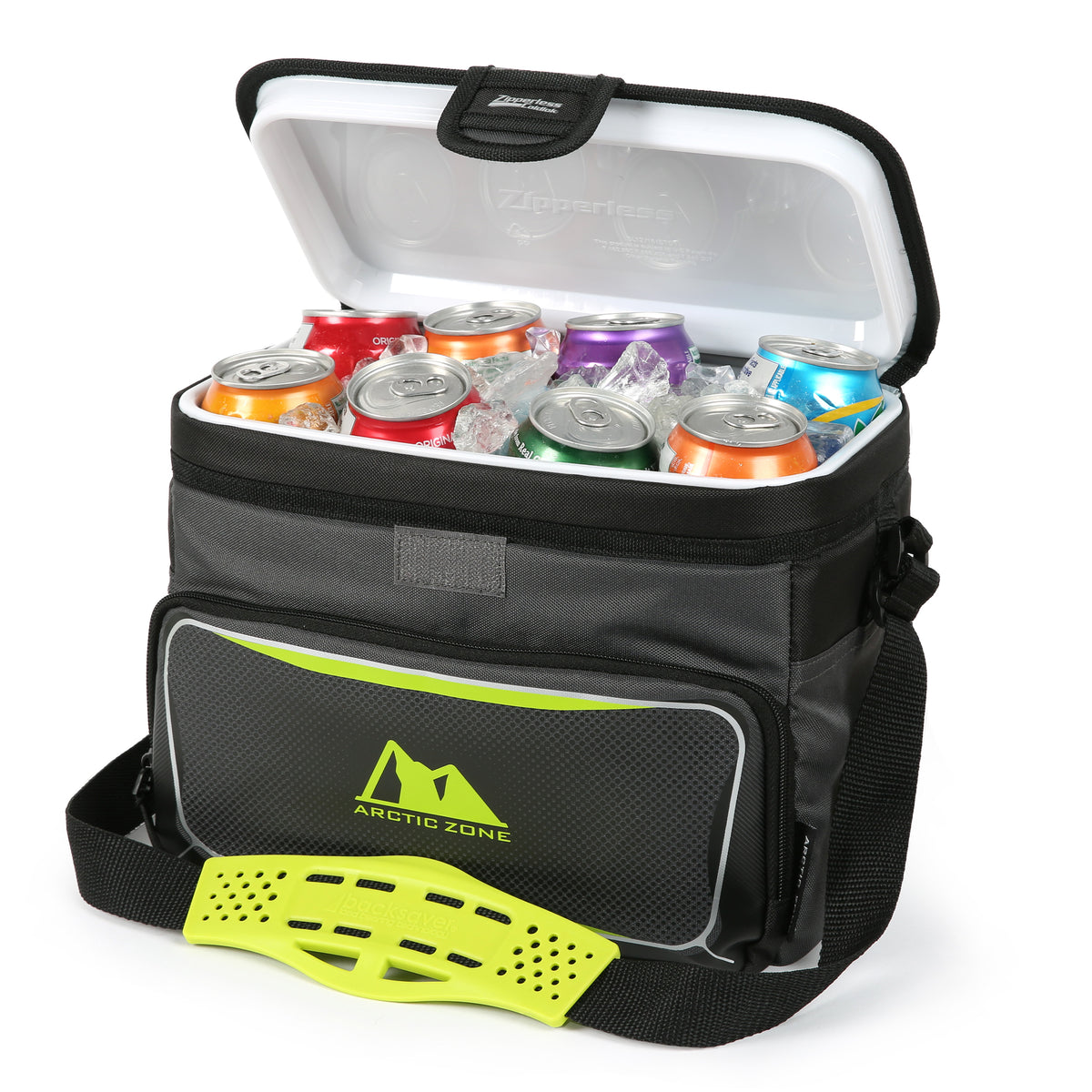 Arctic Zone® 12 Can Zipperless™ HardBody® Cooler - grey/green - propped open
