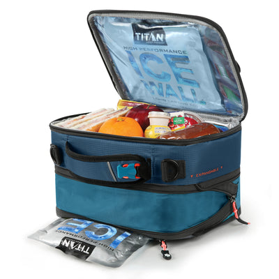 Titan Deep Freeze® High Performance Expandable Horizontal Lunch Pack - Blue - Open, propped