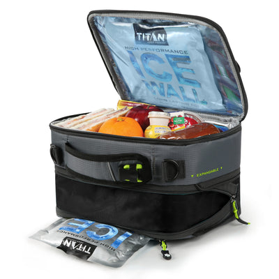 Titan Deep Freeze® High Performance Expandable Horizontal Lunch Pack - Grey - Open, propped