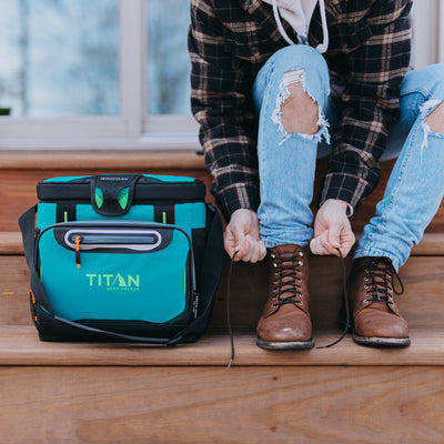 Titan Deep Freeze® 16 Can Zipperless™ HardBody® Cooler -Pine - Lifestyle, cooler on steps beside model