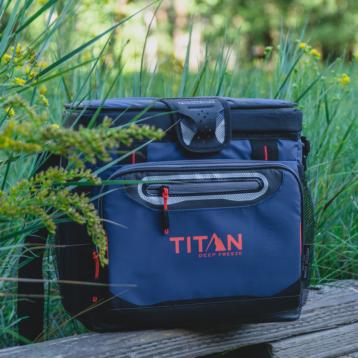 Titan Deep Freeze® 16 Can Zipperless™ HardBody® Cooler - Navy - Lifestyle nature trail