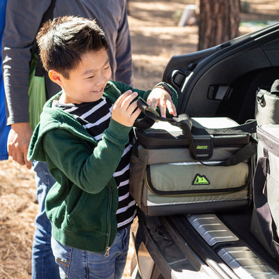 Arctic Zone® 16 (12+4) Can Ultimate Zipperless™ HardBody® Cooler - Green - Lifestyle, helping dad unpack the car