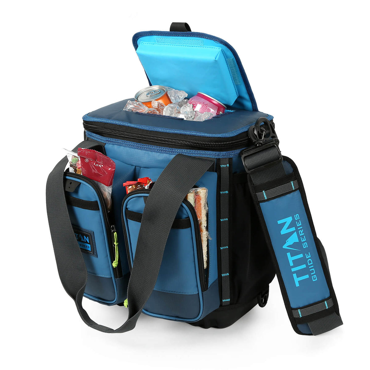 Titan Guide Series™ 16 Can Cooler - Open, propped easy access lid and pockets