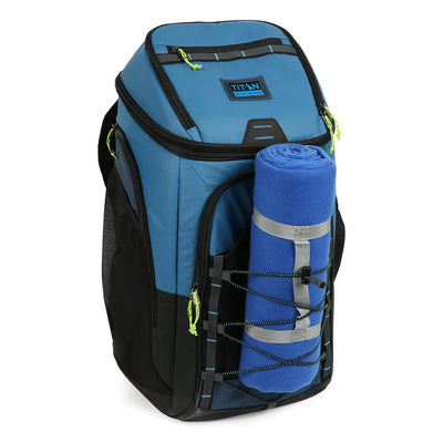 30 Can Titan Guide Series Backpack Cooler - front elastics detail