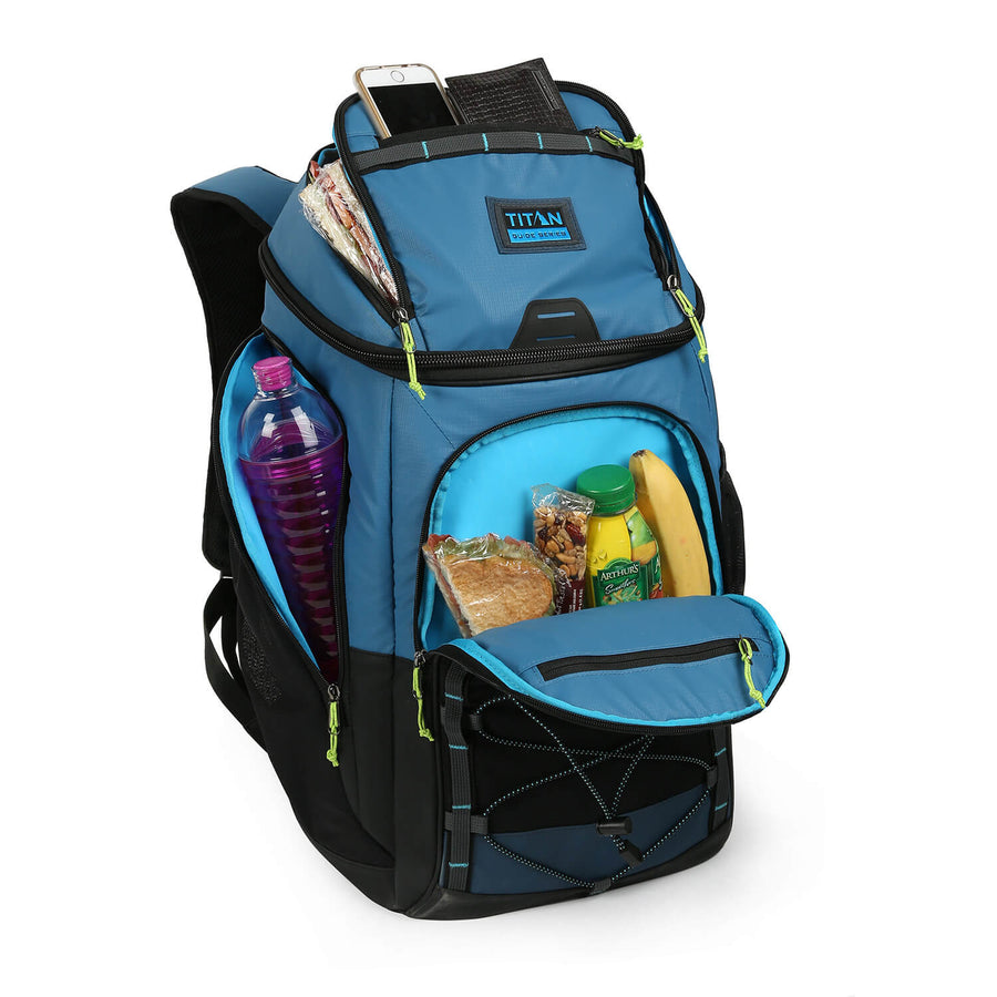 30 Can Titan Guide Series Backpack Cooler - pockets details