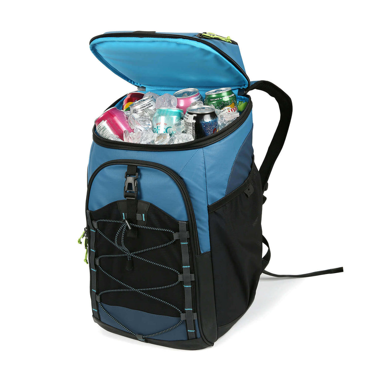 30 Can Titan Guide Series Backpack Cooler front top open