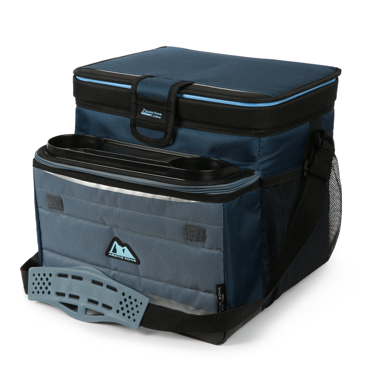Arctic Zone® 30 (24+6) Can Ultimate Zipperless™ HardBody® Cooler - Blue - Front, closed, expanded front pocket
