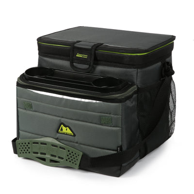 Arctic Zone® 30 (24+6) Can Ultimate Zipperless™ HardBody® Cooler - Green - Front, closed, expanded front pocket