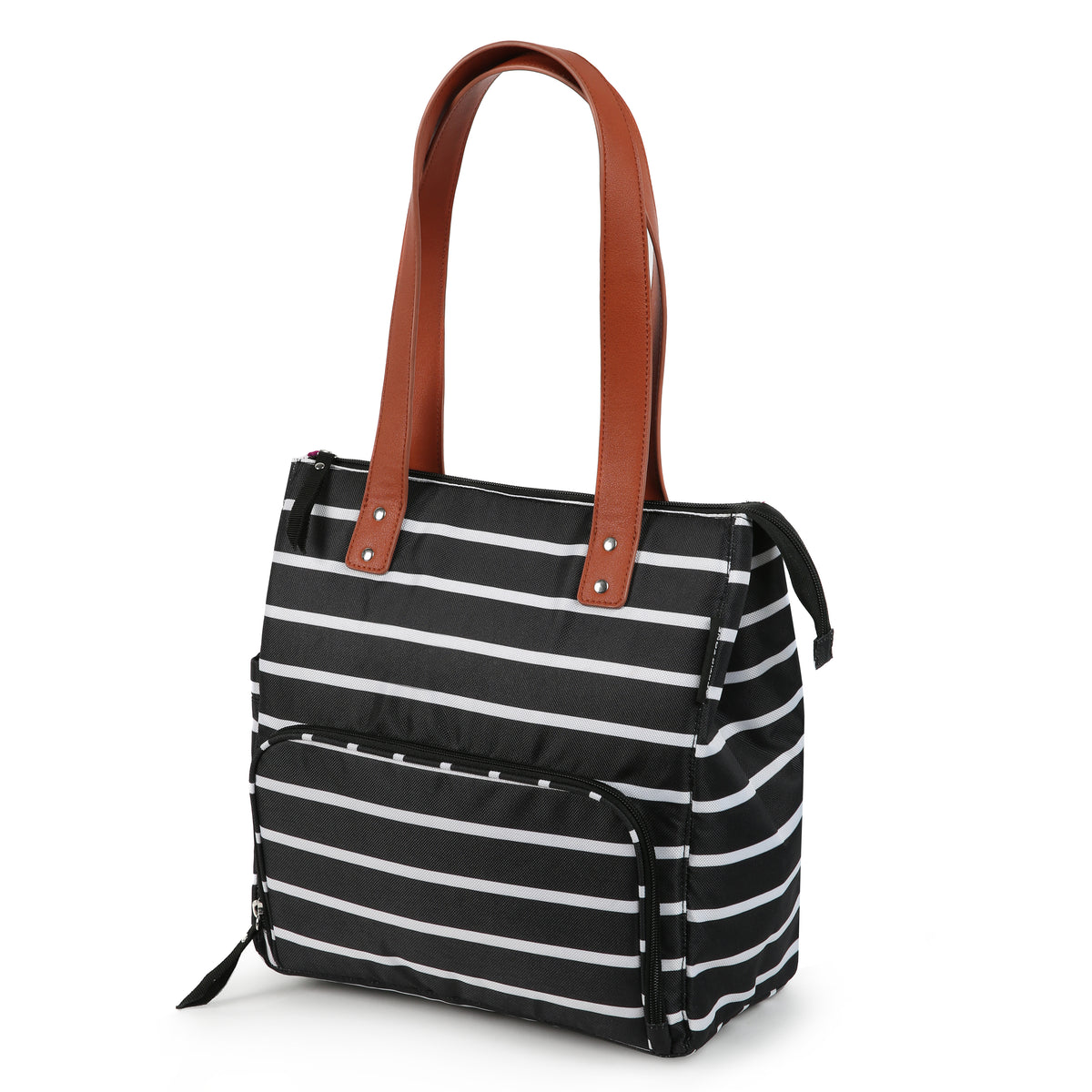 Arctic Zone® Abigail Tote - Basic Stripes - Front, closed