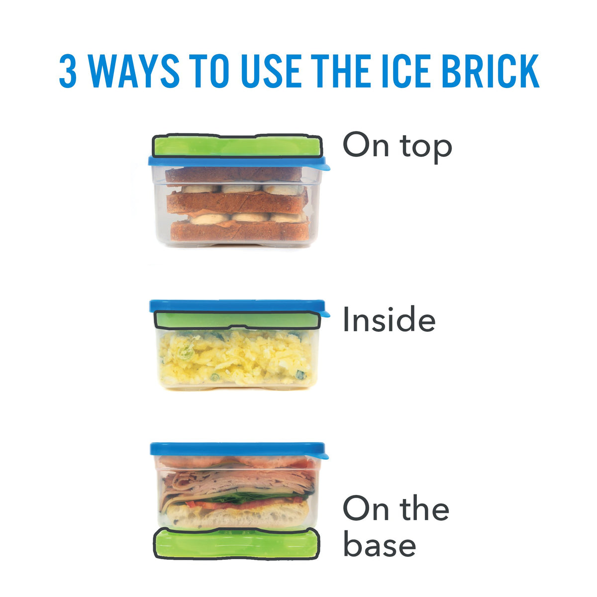 Interlockers 8 Piece Sandwich Set - 3 ways to use the ice brick: on top, inside, on the base.