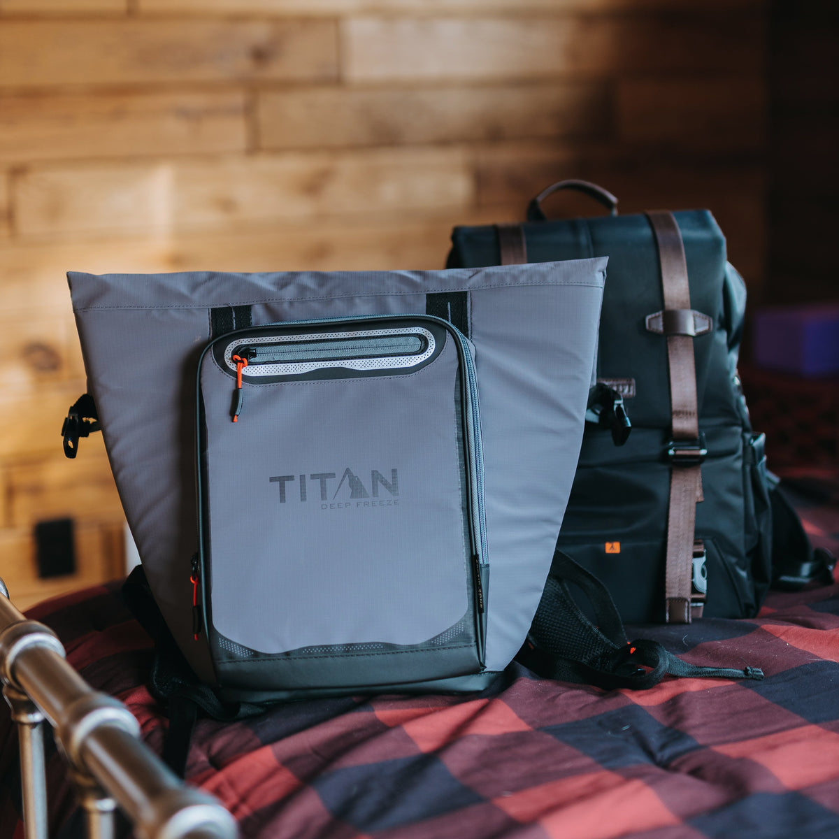 Titan Deep Freeze® 20 Can Rolltop Backpack - Sharkskin Gray - Lifestyle, cooler on bed